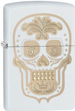 Zippo Choice Gold Skull Day of the Dead Dia De Los Muertos White Matt 28792 New
