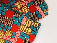 Hitarget Veritable Wax Block Print Fabric Red Turquoise Yellow Block 3 Yds