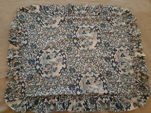 1 Ralph Lauren Blue PORCELAIN TAMARIND Florals Birds Ruffle Pillow Sham STANDARD