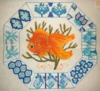 MZC Vintage Oriental Gold Fish HP Hand Painted Needlepoint Canvas