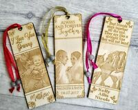 Personalised Wooden Photo Bookmark Birthday Anniversary Wedding Friends Mum Dad