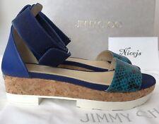 NIB JIMMY CHOO Neat Turquoise Viol Leather 36.5 / 6.5 Flat Cord Platform Sandals