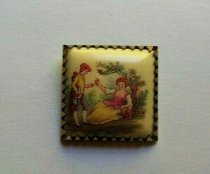 """Antique Metal/Celluloid/Design Transfer Lovers Couple Button 1"""" Inch Sq."""
