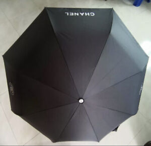 Chanel Umbrella Black with Cover Push Button Operated VIP