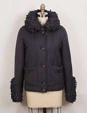 $4K Chanel 14A Navy Blue Fringe Ruffle Collar & Cuffs Down Jacket Coat S 36 4/6