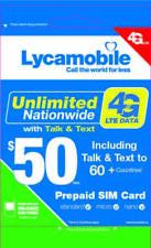 Lycamobile $50 Plan 1st Month Free Triple Cut SIM Card 4G Unlimited Talk & Text