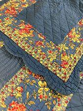 "Vintage  Blue Wholecloth with Floral Cotton Quilt & Sham HUGE 120"" x 116"" KING"