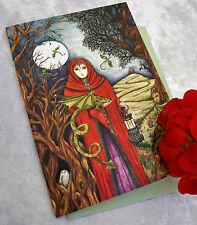 Gorgeous Yule Christmas card Dragon Lady Pagan Solstice Gwen Davies UK artist