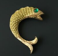 Vintage carp fish pin brooch in enamel on metal