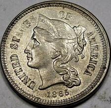 1865 Nickel Three Cent Piece Choice-Gem BU MS+++...Very Flashy and So Very NICE!