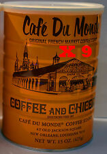 9 Cans Café Du Monde Coffee and Chicory 15 oz - Total 135oz Fast Shipping
