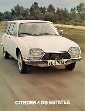 Citroen GS Estate 1973-74 UK Market Foldout Sales Brochure Confort Club