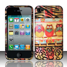 For Apple iPhone 4 4S Rubberized HARD Snap On Protector Case Phone Cover 3 Owls