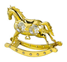 HORSE ROCKING (SHOW PIECE) 24K GOLD PLATED GIFT WITH SWAROVSKI CRYSTALS