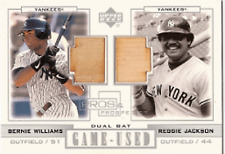 2001 UD Pros & Prospects Bernie WILLIAMS & Reggie JACKSON DUAL Bat Card Yankees
