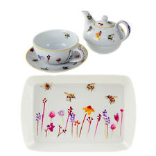 Busy Bees One Teapot Set Cup And Serving Tray Watercolour Floral Print Design