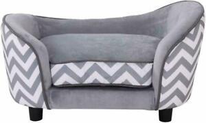 Dog Pet Fur Wooden Sofa Washable Cushion Storage Bag, Grey White Pawhut
