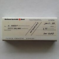 National Australia Bank Cheque 123456 Jan 5 1984 $50 Silver Matchbox (MX31)