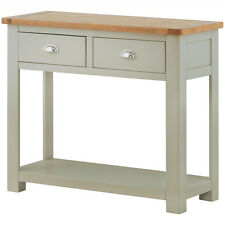 Padstow Grey Painted Console Table / Solid Wood Painted Hall Table / Oak Top