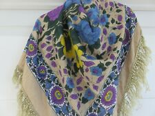ERFURT DENMARK 30% SILK & COTTON PURPLE & BLUE FLOWER PRINT SCARF SHAWL TASSELS
