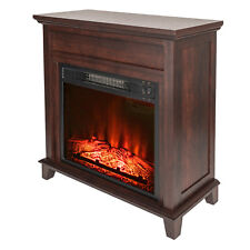 """27"""" Freestanding Electric Fireplace Brown Wooden Mantel Heater w/ 3D Flame Log"""
