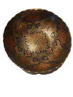 Niello Bowl Brass Enamel Handsome Vintage Antique Kashmir India Hand Painted