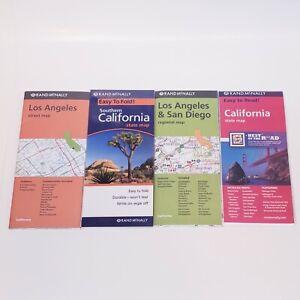 4 Map Lot: California, Los Angeles, San Diego, SOCAL - RAND MCNALLY - New