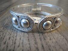 Lucky Brand silver tone bead hinged bracelet, NWT