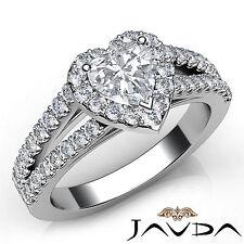 Heart Diamond Engagement GIA F VVS2 18k White Gold Halo Prong Set Ring 1.46Ct