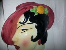 Art deco pottery female wall hanging head
