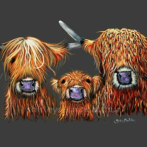 HIGHLAND COW PRINTS of Original Painting WE 3 COOS ON GReY by SHIRLEY MACARTHUR