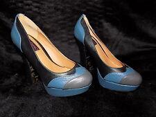 90s style blue & grey Ruby Rocks 'Sophia' platform heels brogue style pattern 4