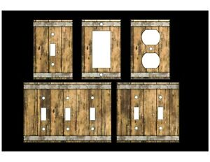 WOOD BARREL IMAGE Light Switch Covers Home Decor Oultet MULTIPLE OPTIONS