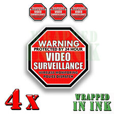 Warning 24 hour Video Surveillance Security Stickers RED OCT. Decal 4 PACK