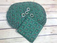 12 Pc Set Vtg Green Christmas Holly Heart 4 Placemats 4 Napkin rings 4 Napkins