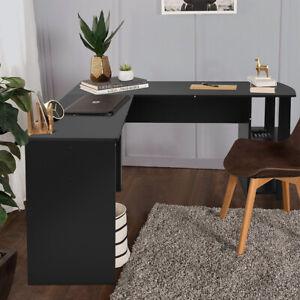 Schreibtisch Büro Eckschreibtisch Winkelkombination Regal Tisch L-Form Schwarz