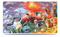 Pokemon Custom Playmat Red Green Blue Charizard Venusaur Blastoise Pika Play Mat