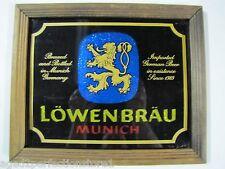 Vintage 1970s Lowenbrau Beer Foil Advertising Sign bar liquor store wood frame