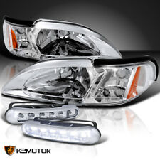 94-98 Ford Mustang Crystal Chrome Headlights Signal+LED Daytime Running Lamp