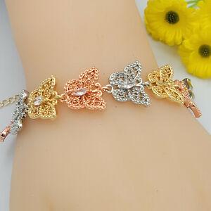 Woman Tri Color Gold Plated Butterflies Bracelet Pulsera Oro Laminado