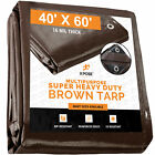 40' x 60' Super Heavy Duty 16 Mil Brown Poly Tarp Cover-Tarpaulin with Grommets
