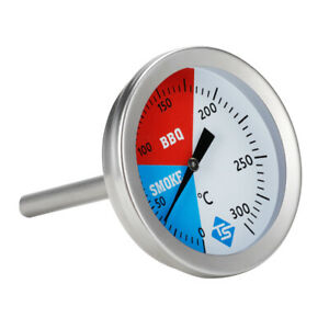 Smoker Grill Stainless Steel Thermometer Temperature 0-300℃ Barbecue BBQ Gauge