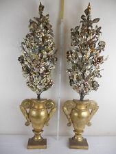 2 alte Altarblumen, Holz Altarvasen vergoldet, Altarstrauß, Klosterarbeit 113 cm