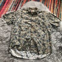 Vintage Hilo Hattie Men's Medium Hawaiian Button Down Short Sleeve Shirt Ukelele