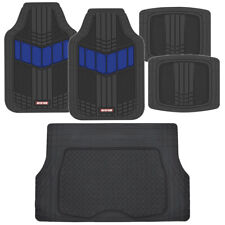 Motor Trend FlexTough 2-Tone All Weather Rubber Floor Mats 5 PC Set - Blue