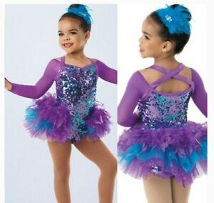 Weissman Dance Costume IC Jazz Tap purple blue inc. Head piece