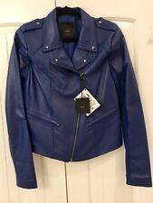 NWT 'VEDA' Stunning Bright Blue Leather Jacket!! Size L.