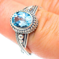 Blue Topaz 925 Sterling Silver Ring Size 7.75 Ana Co Jewelry R53177