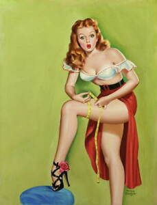 Peter Driben Pin Up Girls Thigh Measurement Giclee Paper Print Poster