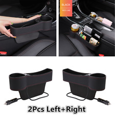 2x PU Leather Dual USB Car Left+Right Seat Gap Organizer Storage Box Cup Holder